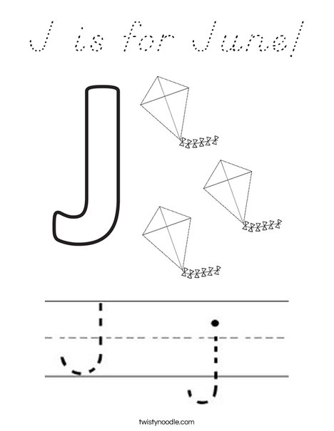 J is for June! Coloring Page