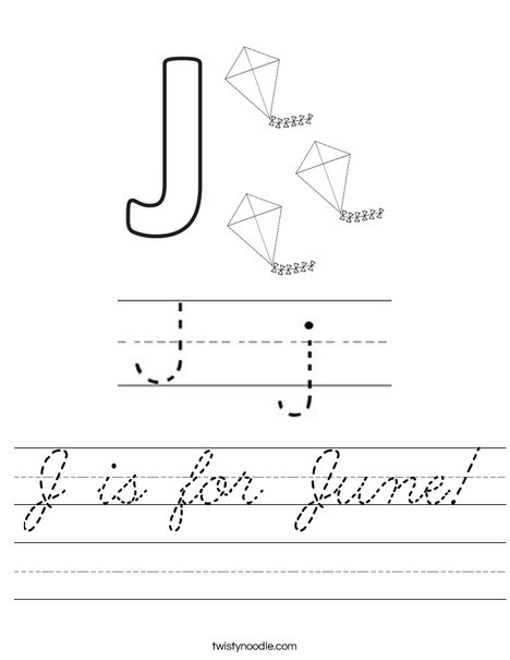 J is for June! Worksheet
