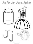 J is for Jar, Juice, Jacket Coloring Page