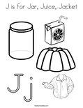J is for Jar, Juice, Jacket Coloring Page