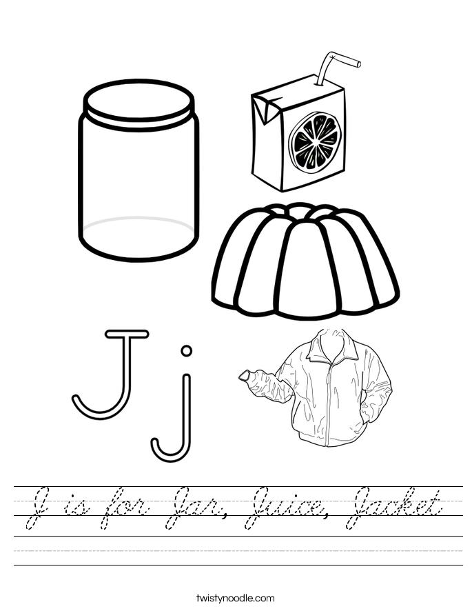 J is for Jar, Juice, Jacket Worksheet