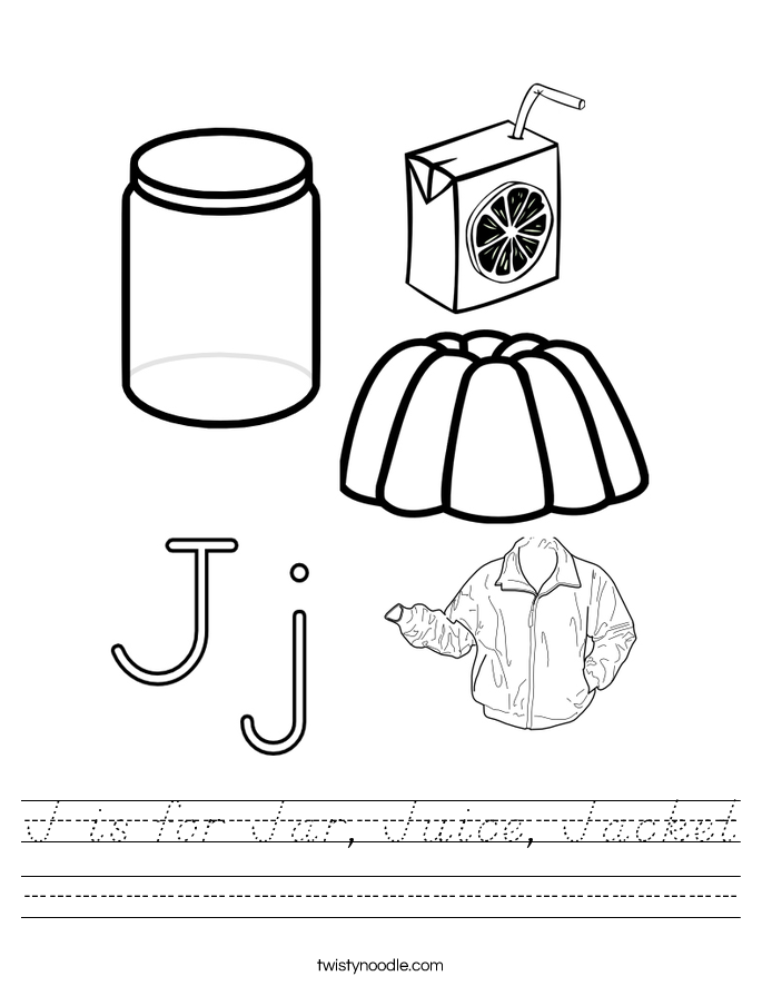 J is for Jar, Juice, Jacket Worksheet
