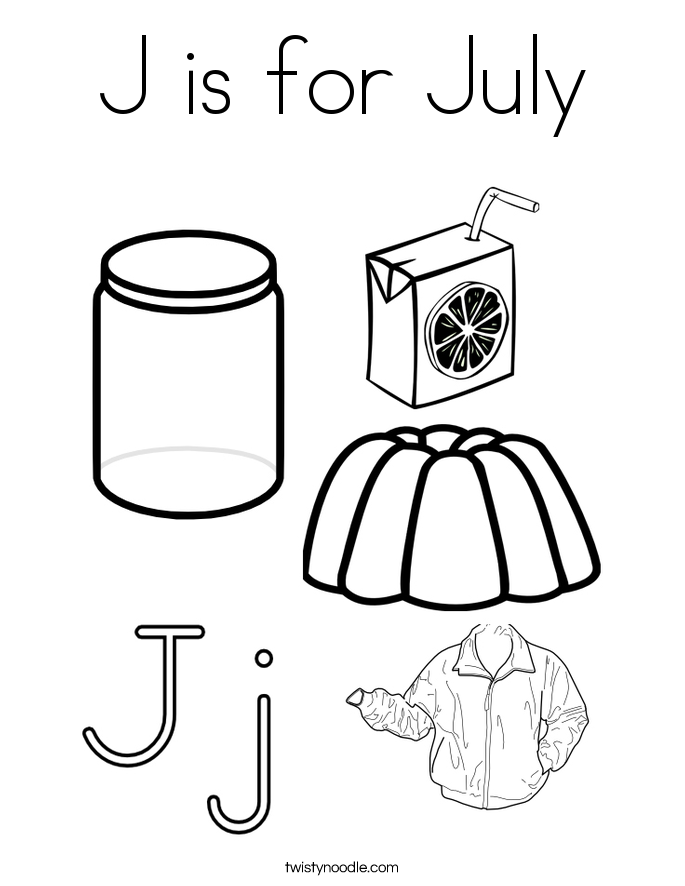 J is for July Coloring Page
