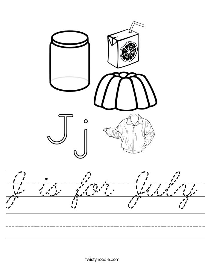 J is for July Worksheet