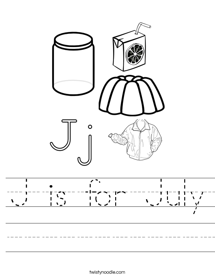 J is for July Worksheet