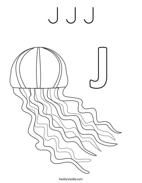 J Jellyfish Coloring Page