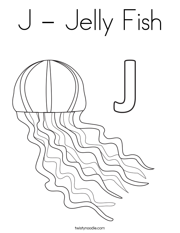 J - Jelly Fish Coloring Page - Twisty Noodle