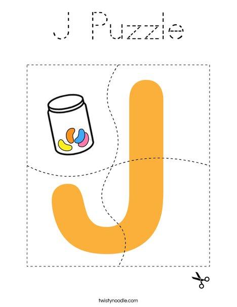 J Puzzle Coloring Page