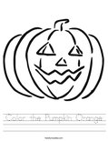 Color the Pumpkin Orange Worksheet