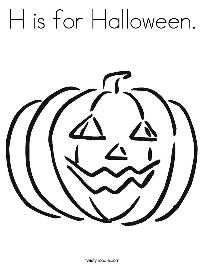 H is for halloween coloring pages ~ H is for Halloween Coloring Page - Twisty Noodle