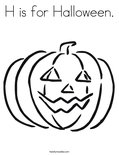 H is for Halloween. Coloring Page
