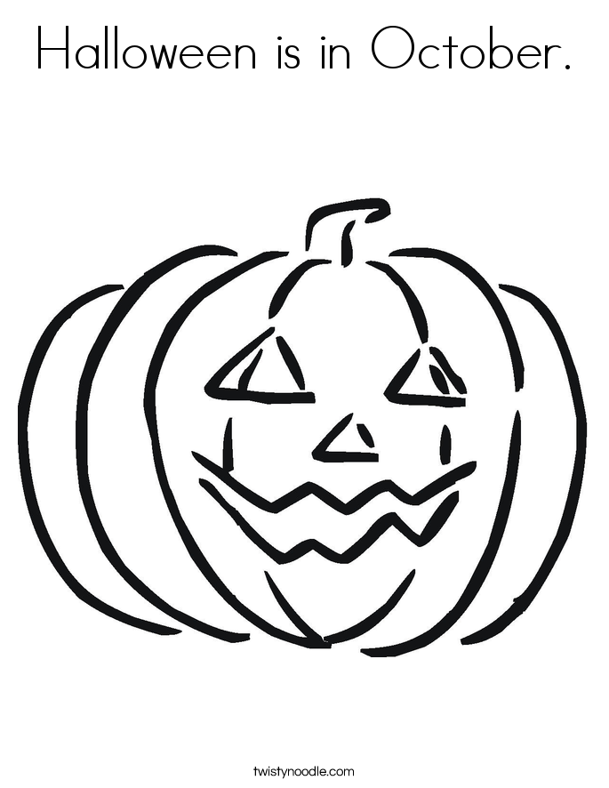 Halloween is in October Coloring Page - Twisty Noodle