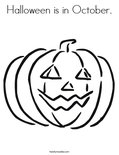 Halloween is in October. Coloring Page