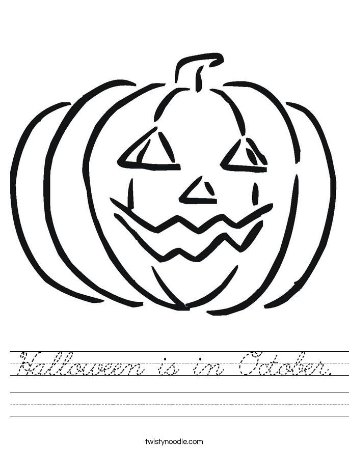 Halloween is in October. Worksheet