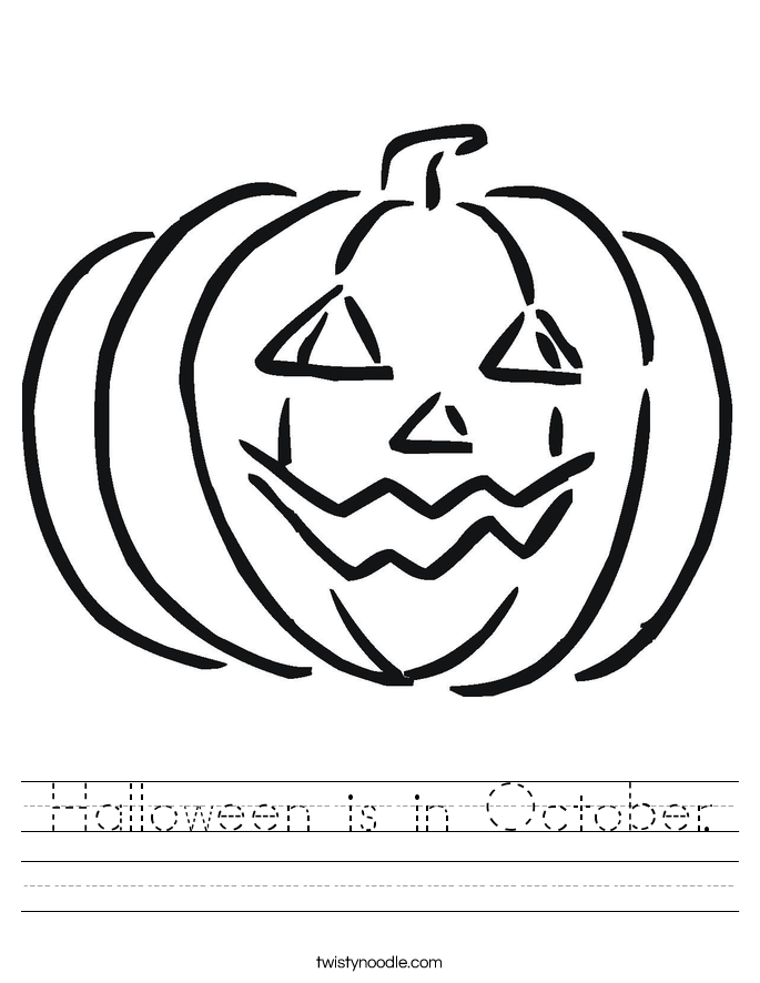 Halloween is in October. Worksheet