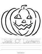 Jack O' Lantern Handwriting Sheet