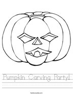 Pumpkin Carving Party Handwriting Sheet