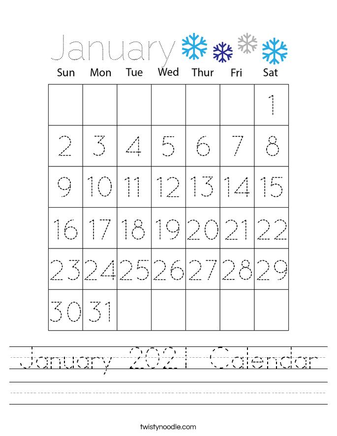January 2021 Calendar Worksheet