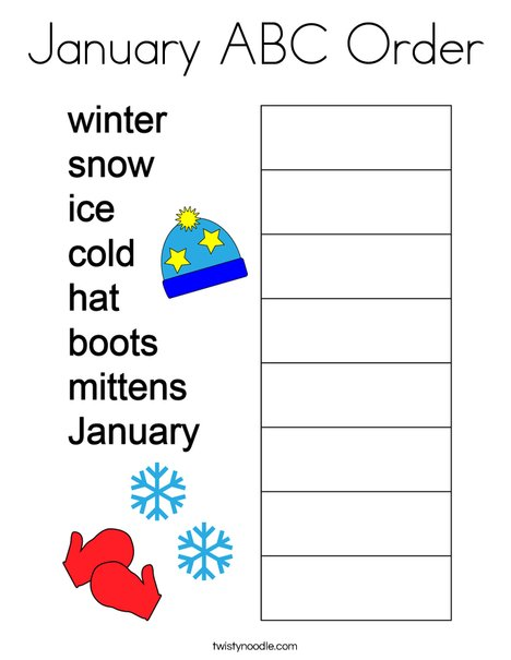 January ABC Order Coloring Page