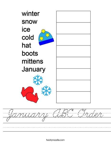 January ABC Order Worksheet