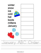 January ABC Order Handwriting Sheet