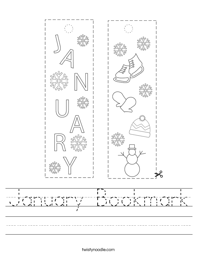 January Bookmark Worksheet