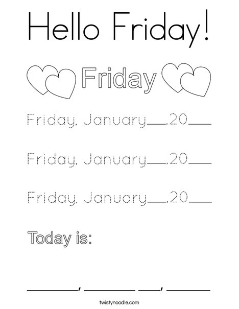 January- Hello Friday Coloring Page