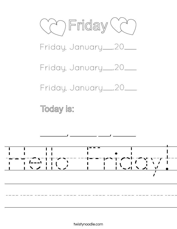 Hello Friday! Worksheet