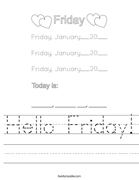 January- Hello Friday Worksheet
