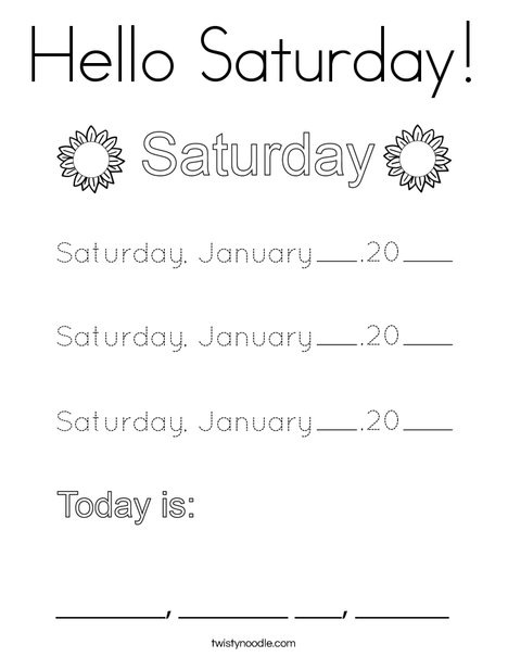 January- Hello Saturday Coloring Page