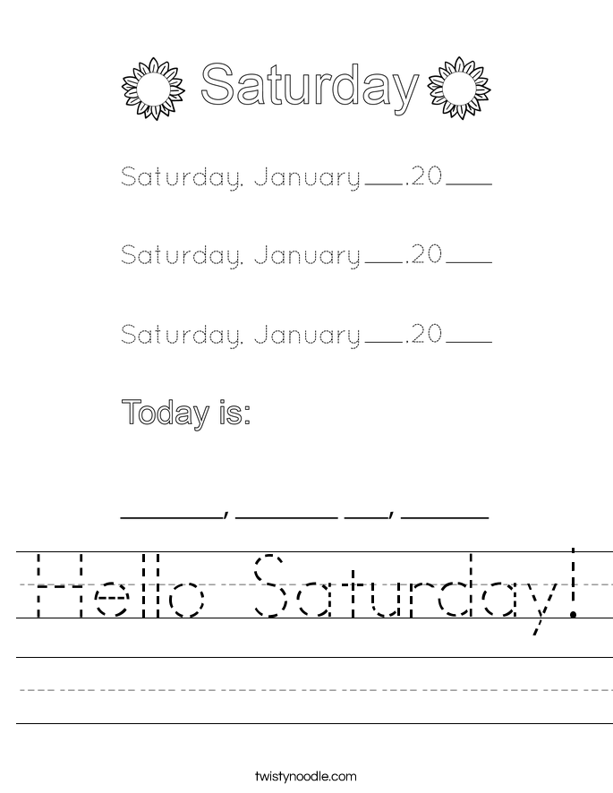 Hello Saturday! Worksheet