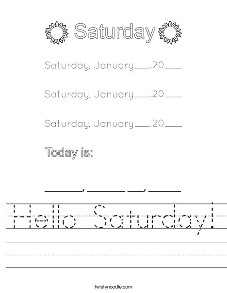 January- Hello Saturday Worksheet