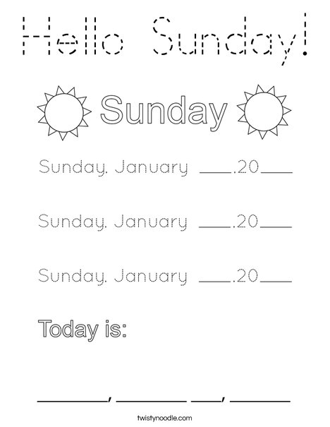 January- Hello Sunday Coloring Page