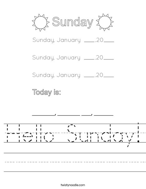 January- Hello Sunday Worksheet