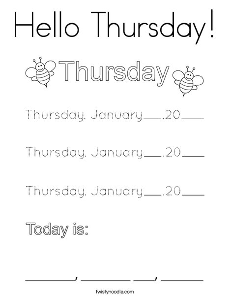 January- Hello Thursday Coloring Page