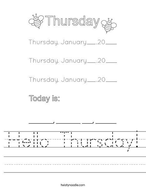 January- Hello Thursday Worksheet