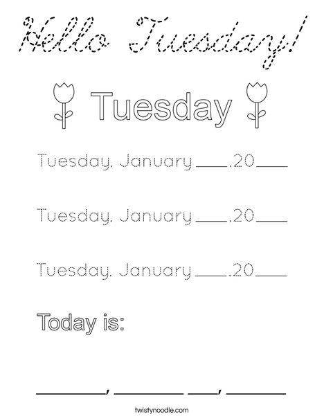 January- Hello Tuesday Coloring Page