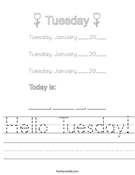 January- Hello Tuesday Worksheet