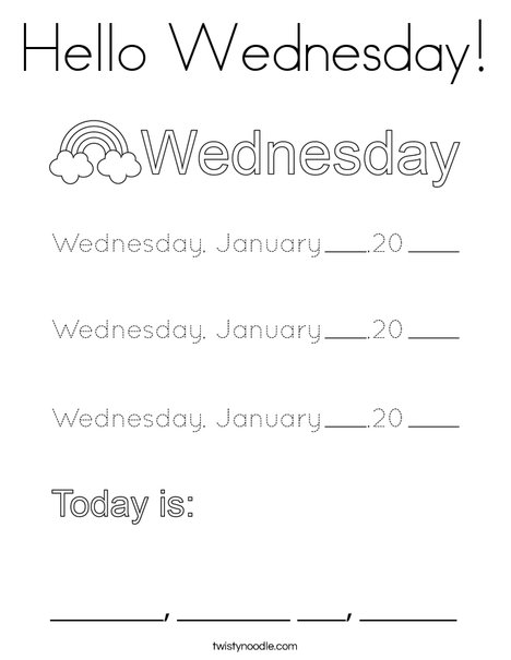 January- Hello Wednesday Coloring Page