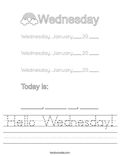 January- Hello Wednesday Worksheet