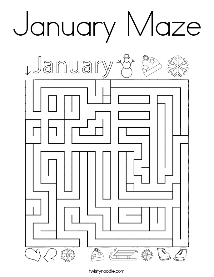 January Maze Coloring Page