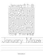 January Maze Handwriting Sheet