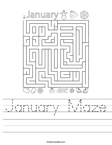 January Maze Worksheet