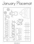 January Placemat Coloring Page
