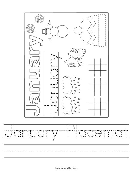 January Placemat Worksheet