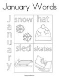 January Words Coloring Page