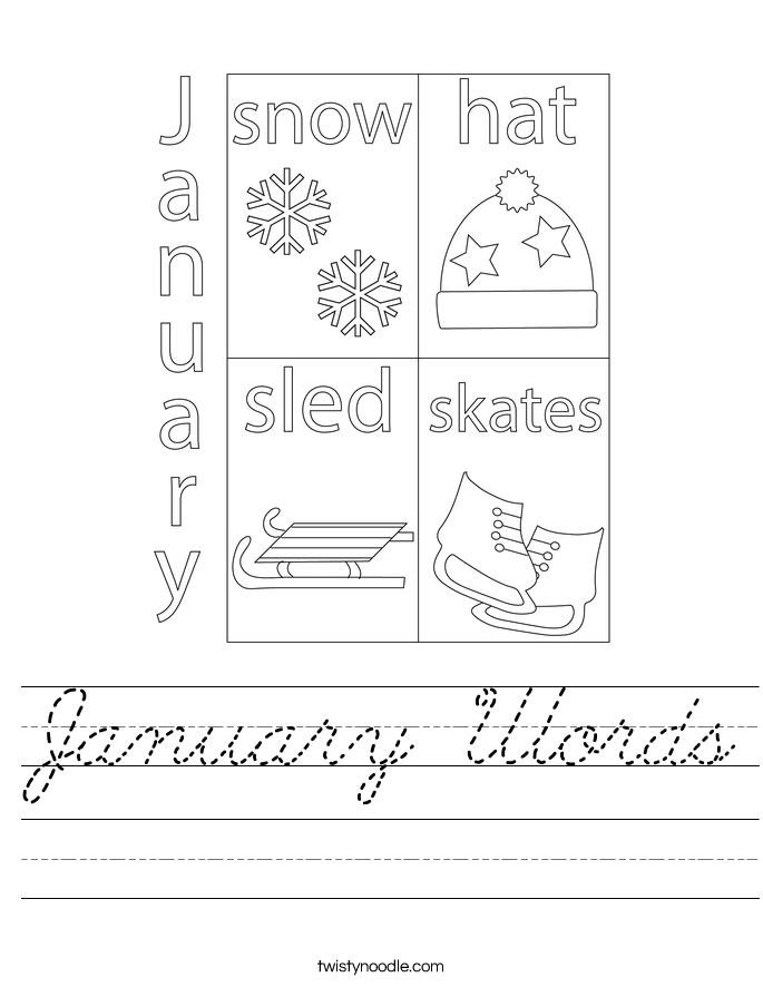 January Words Worksheet