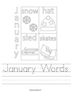 January Words Handwriting Sheet