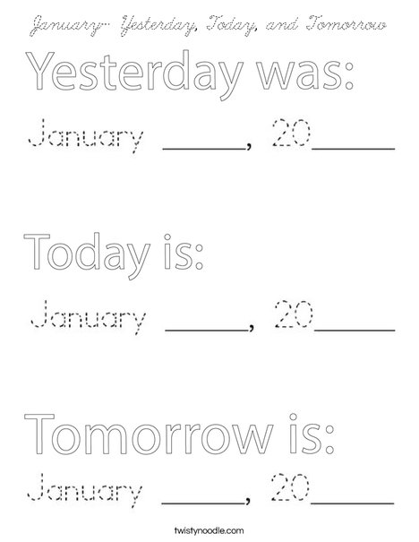 January- Yesterday, Today and Tomorrow Coloring Page