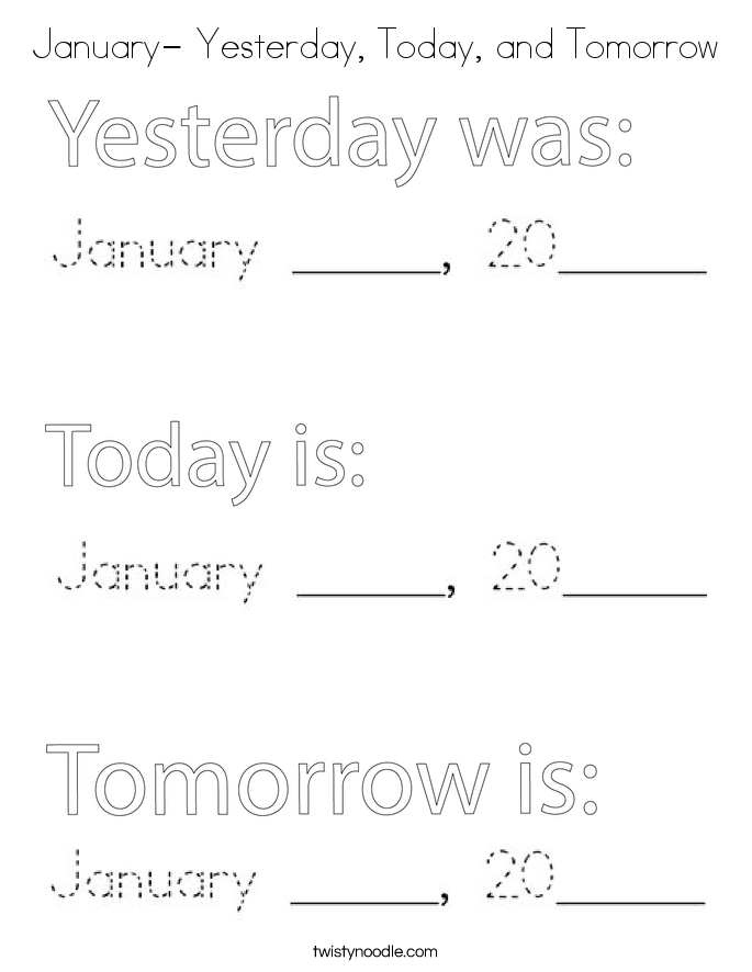January- Yesterday, Today, and Tomorrow Coloring Page